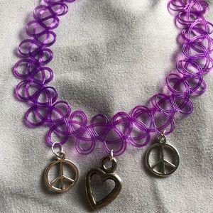 Purple double peace heart tattoo choker